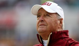 JACKSONVILLE, FL - JANUARY 01: Head coach Bobby Bowden of the Florida State Seminoles watches his team take on the West Virginia Mountaineers during the Konica Minolta Gator Bowl on January 1, 2010 in Jacksonville, Florida. (Photo by Doug Benc/Getty Images)